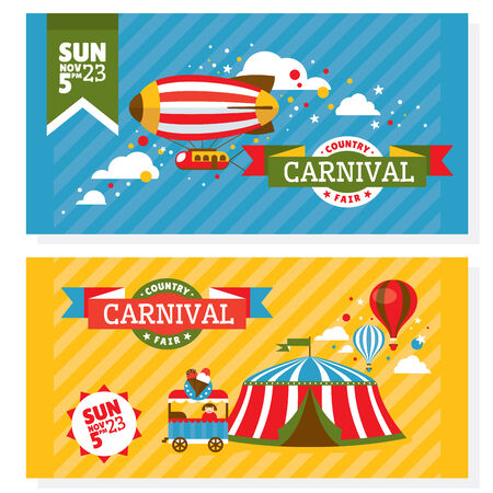 fun festival: Country fair vintage invitation cards vector illustration Illustration