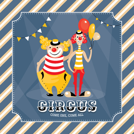 Vintage vector card with clowns Vector
