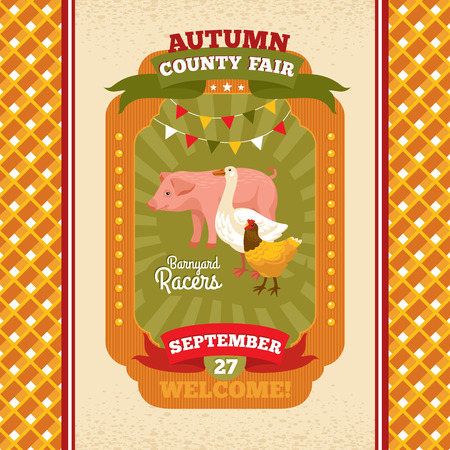 county fair: County fair vintage invitation card vector illustration