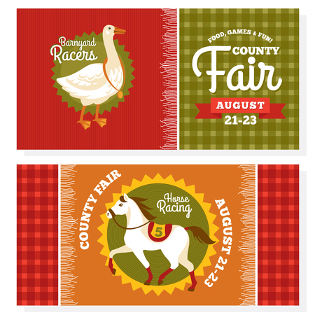 condado: County fair vintage invitation cards vector illustration