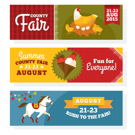 county: County fair vintage banners vector illustration Illustration