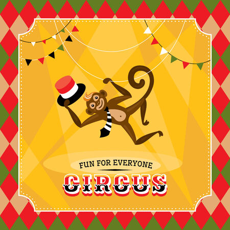 Vintage circus card with a monkey vector illustration Vector