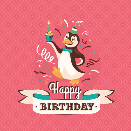 Vintage birthday greeting card with a penguin holding a cupcake on retro background Vector