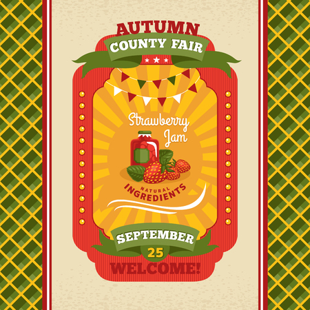 county fair: County fair vintage invitation card illustration Illustration