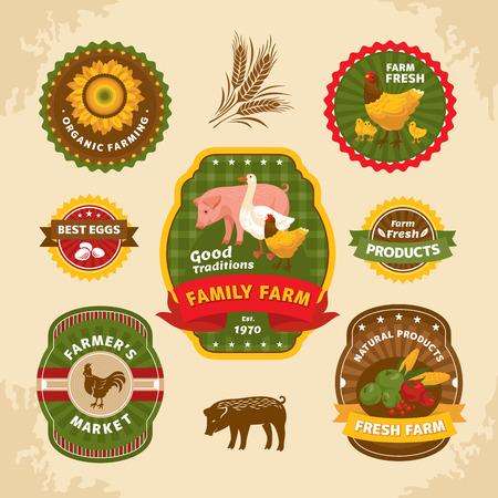 Vintage farm labels illustration