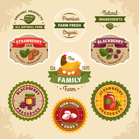 egg plant: Vintage farm labels illustration