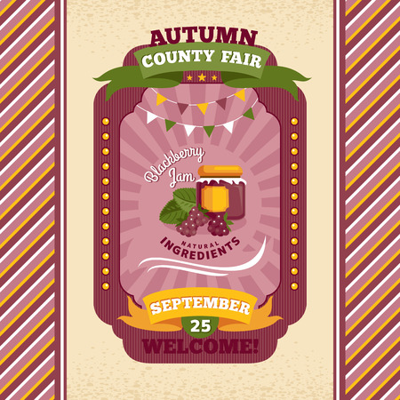 condado: County fair vintage invitation card illustration Ilustra��o