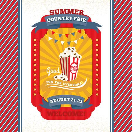 Country fair vintage invitation card illustration