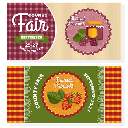 County fair vintage invitation cards illustration