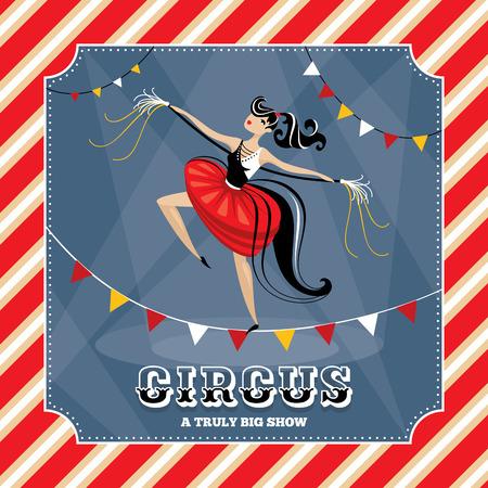 acrobat: Vintage vector card with acrobat girl Illustration