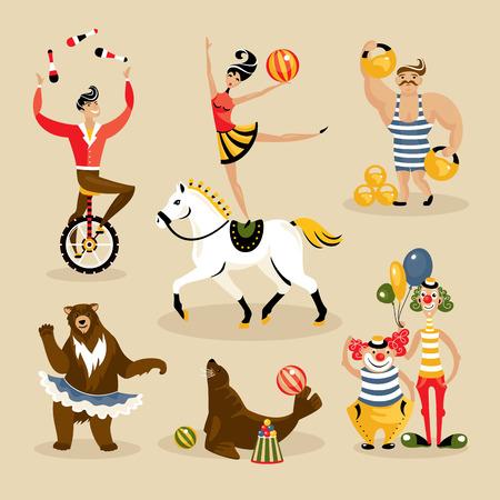 circo: Conjunto de personajes de circo y los animales ilustración vectorial