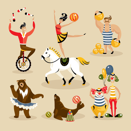 Set of circus characters and animals vector illustration Illustration