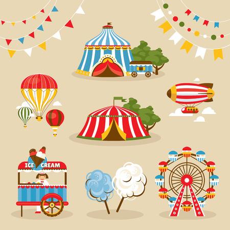 circo: Conjunto de país justo objetos ilustración vectorial Vectores