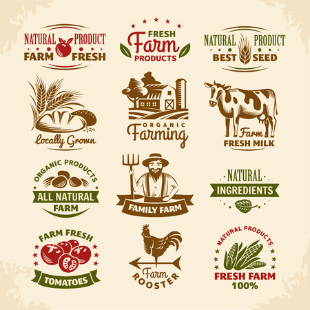 old farmer: Vintage farm labels vector illustration Illustration