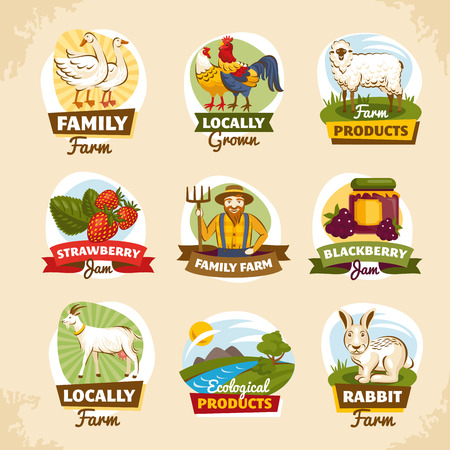 Vintage farm labels vector illustration Reklamní fotografie - 44396988