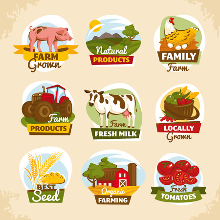 Vintage farm labels vector illustration Ilustrace
