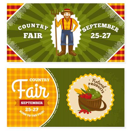 Country fair vintage invitation cards vector illustration Illustration