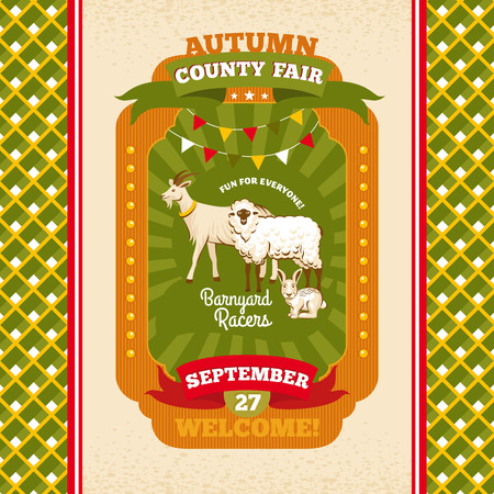 condado: County fair vintage invitation card vector illustration