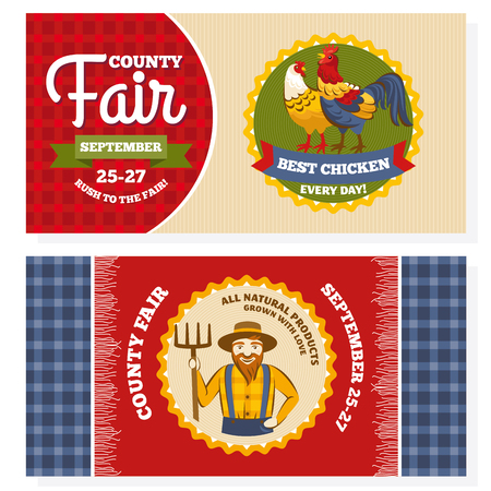 county fair: County fair vintage invitation cards vector illustration