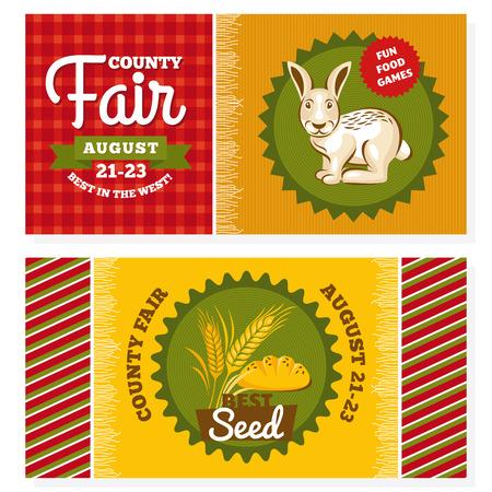 county: County fair vintage invitation cards vector illustration