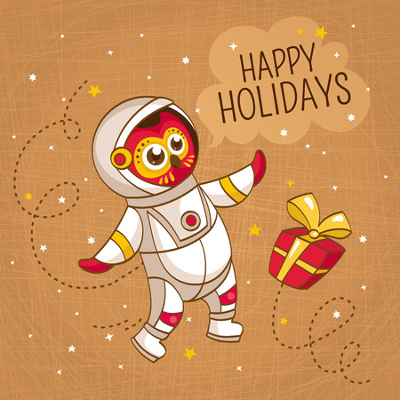 space suit: Vintage greeting card with owl astronaut in a human space suit, vector illustration Vettoriali