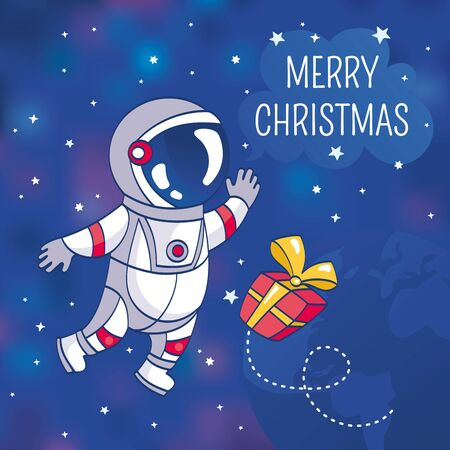 cartoon astronaut: Christmas greeting card with astronaut, vector illustration, contains gradient mesh