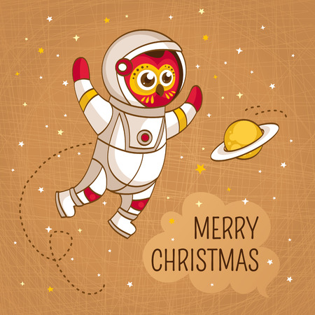 space suit: Vintage Christmas greeting card with owl astronaut in a human space suit, vector illustration Vettoriali