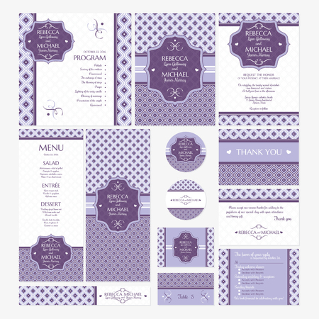 wedding ceremony: Set of wedding cards vector illustration