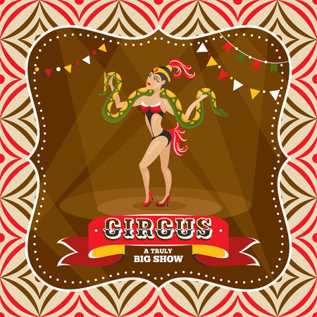 entertainer: Circus card with snake charmer vector illustration