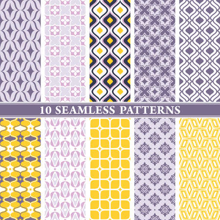 Seamless wallpaper patterns. Vintage and modern color background with geometric and floral elements. Vector illustration.