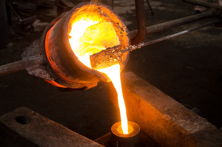 red hot iron: Metal Casting 2 Stock Photo