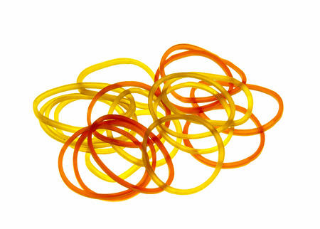 Rubber bands on isolated white background. photo