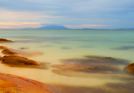 Sea Scape on Twilight at Koh Munnork Rayong Province Thailand. photo