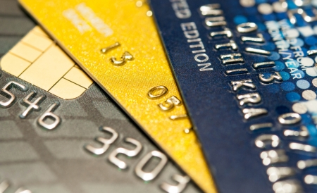 debit card: Stack of credit cards, selective focus, backgound, close up