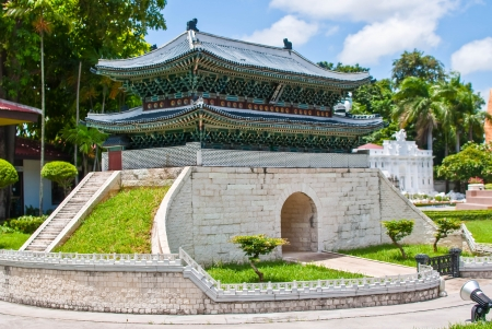 reproduced: namdaemun,korea gate, is reproduced to mini size in mini siam