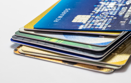 stack of business cards: Credit Card Background Stock Photo