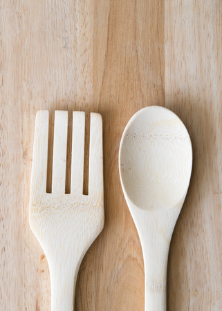 wooden fork and spoon photo
