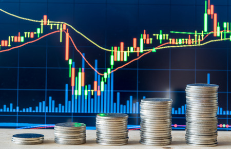 beurs grafiek met munt
