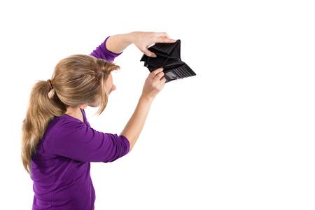 empty wallet: Woman showing an empty wallet