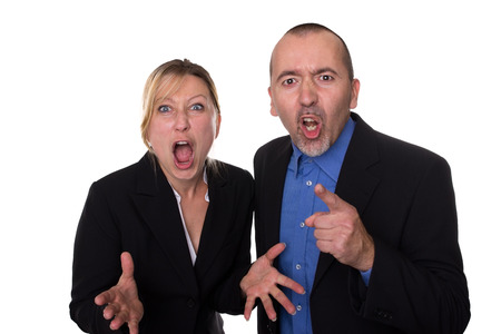 Man and woman shouting loud Stock Photo - 24346248