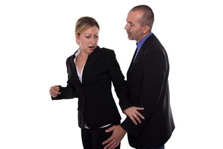 harassing: Man touching woman