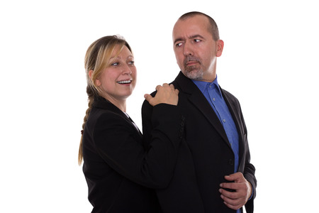 harassing: Woman flirting with a man Stock Photo