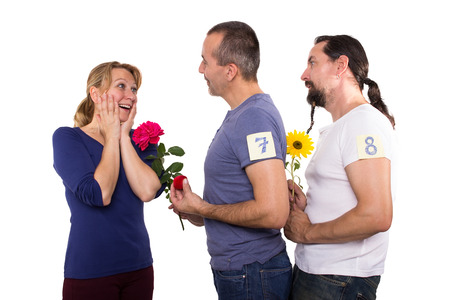 pretender: Female dating several men Stock Photo