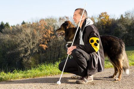 A blind man on a walk with his assistance dog