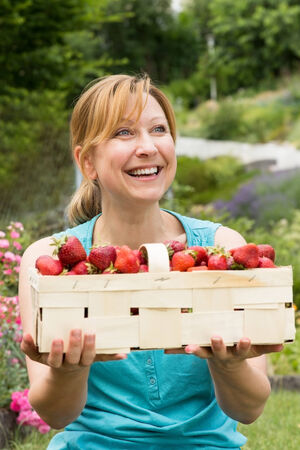 harvesters: A smiling woman holds a basket filled with fresh strawberries Stock Photo