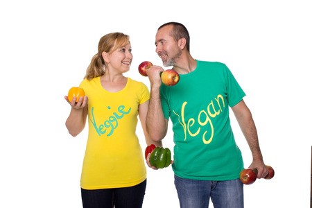 meatless: Man and woman feeling fit with meatless diet