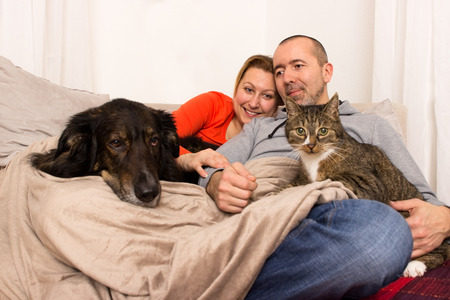 A couple lying with her dog and her cat on the sofa Stock Photo