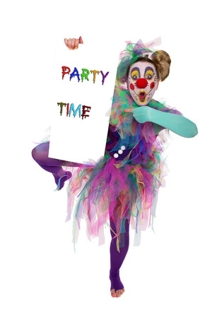 party time: A clown standing on one foot and holding a sign with Party Time
