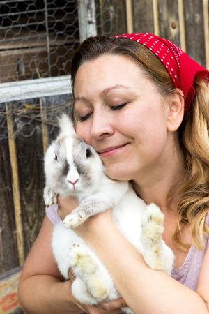 lovingly: A B�??,�uerin lovingly embraces a wei�?? ... AES rabbit