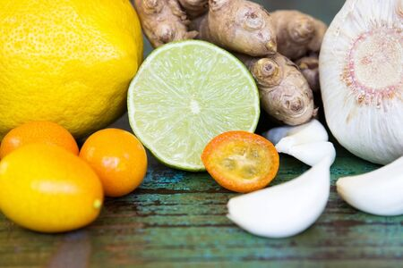 cold season: Ingredients to support the immune system during the cold season Stock Photo